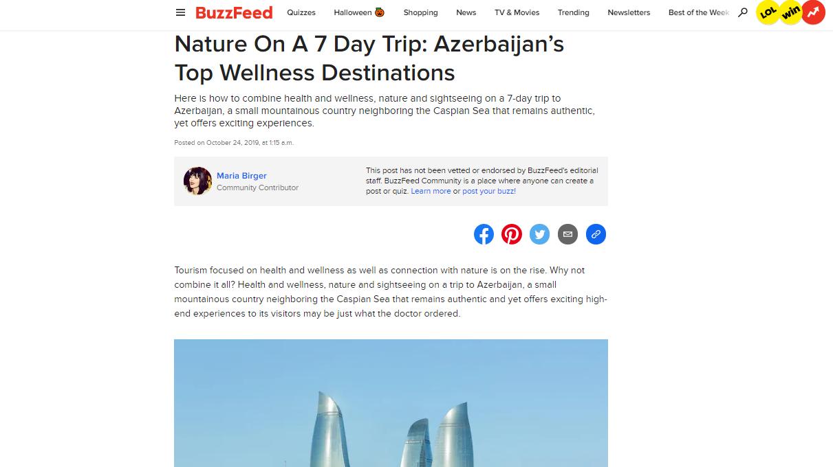 """Qlobal media platforması olan """"BuzzFeed"""" hər kəsi Azərbaycana 7 günlük səyahətə çağırıb}"""