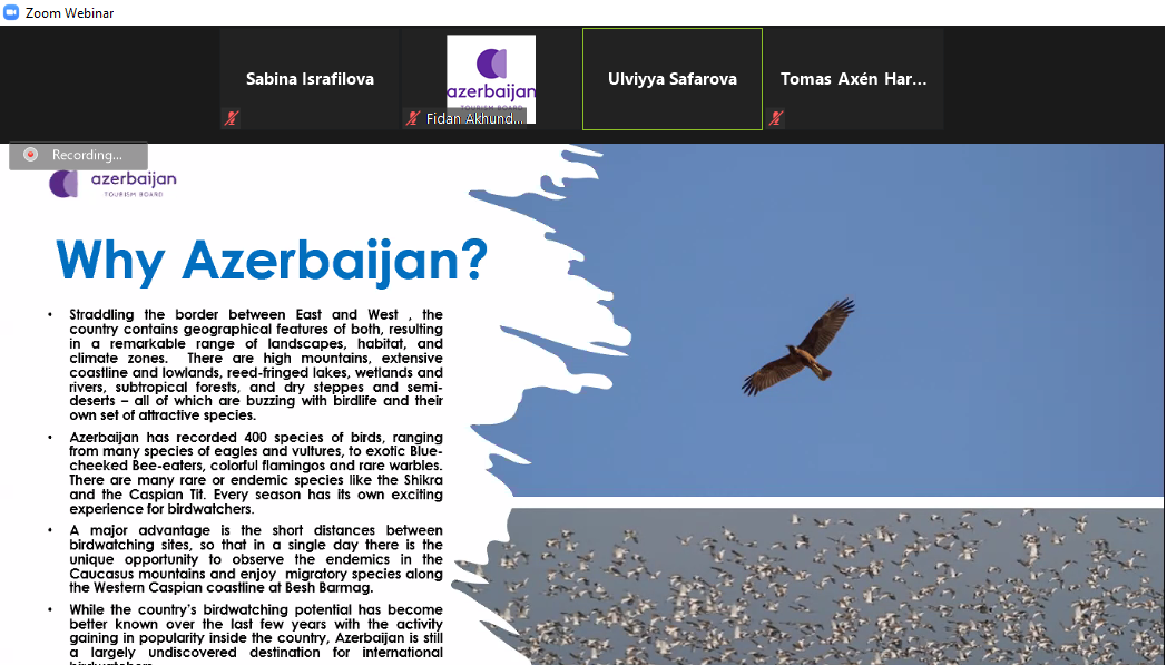 Azərbaycanın ornitoloji turizm imkanları tanıdılıb